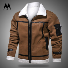 Jacket Coats Motorcycle Leather Mens Clothing Suede Vintage Winter New Warm Thick Wool