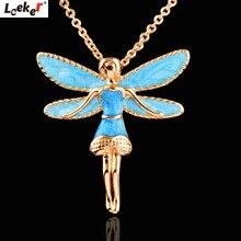 Collar LEEKER con colgante de Ángel esmaltado azul Vintage para mujer, cadena de eslabones de Color dorado, joyería personalizada 105 LK9