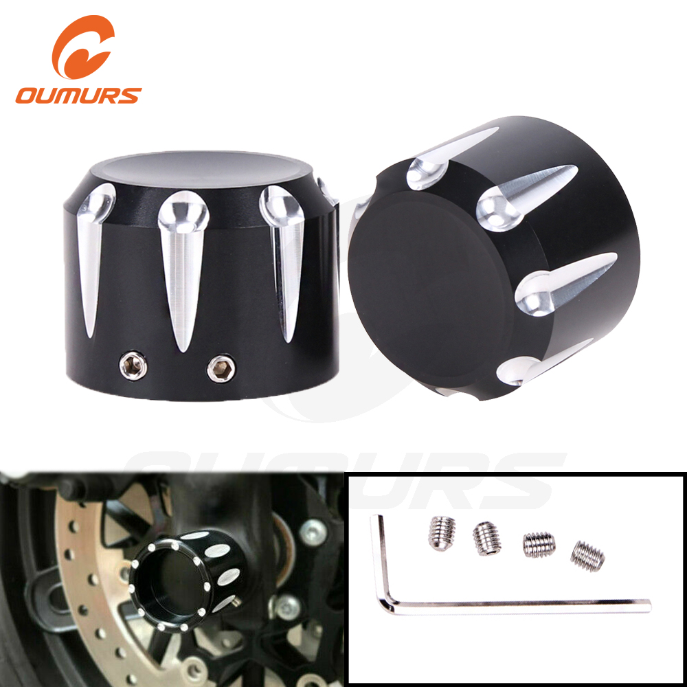 OUMURS Motorcycle CNC Front Axle Cap Nut Cover For <font><b>Harley</b></font> Sportster 1200 <font><b>Iron</b></font> <font><b>883</b></font> Touring Electra Glide Softail Dyna Street Glid image