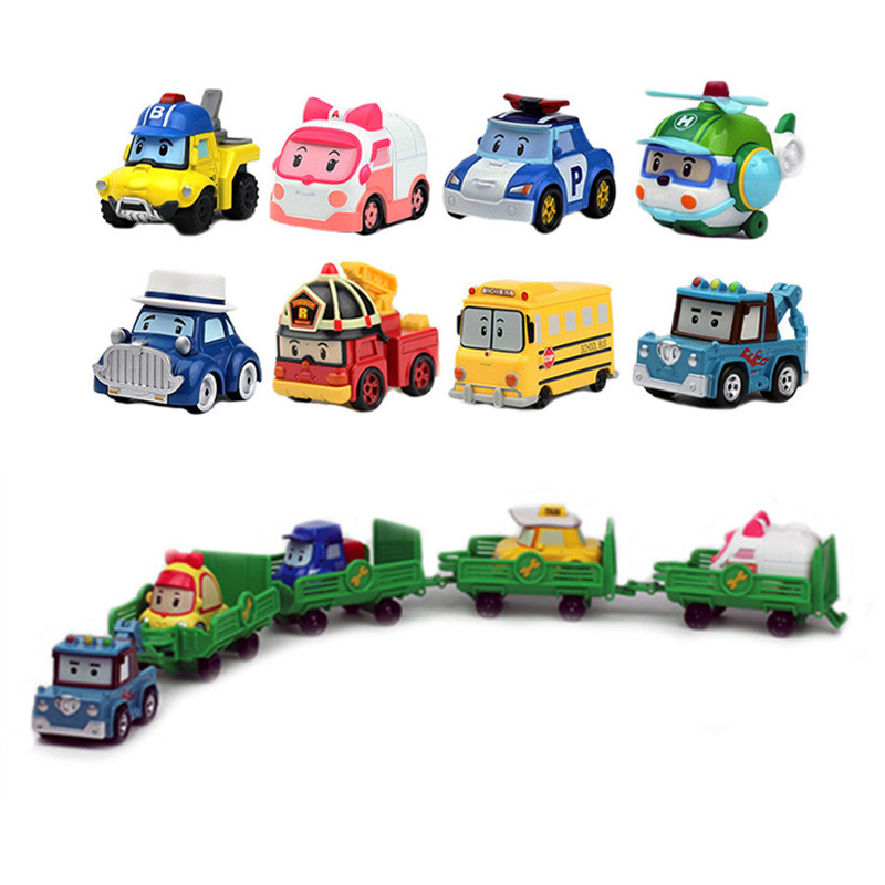 25 Style Korea Kids Toys Robocar Poli Metal Car Model Robot Poli Roy Haley Anime Action Figure Toys Car For Children Best Gift