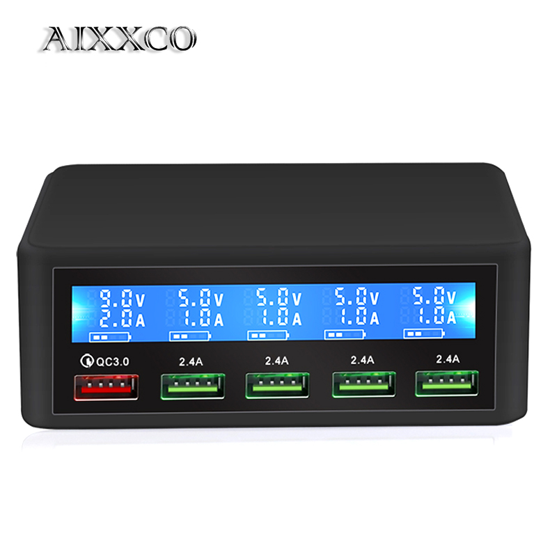 AIXXCO Quick-Charger Desktop-Charging-Station Led-Display IPhone X 6-iPad 5 USB 8 7 5-Port