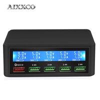 Aixxco usb carregador rápido 40w 5-port display led carga rápida 3.0 carregador rápido desktop estação de carregamento iphone x 8 7 6  ipad