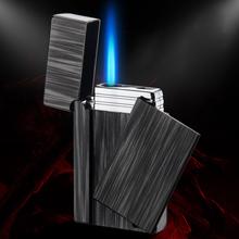 Gadżety dla mężczyzn elektroniczny turbo zapalniczki zapalniczki akcesoria do palenia zapalniczka gazowa metalowy cygaro papierosów zapalniczki tanie tanio LACHOUFFE Lighters Color mixing Household Butane