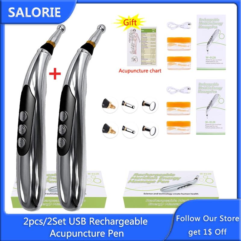 2Pcs/2Set Usb Oplaadbare Acupunctuur Pen 3 Head Elektronische Meridiaan Energie Massage Pen Stimulator Electroestimulador Gespierde|Massage Stok| - AliExpress