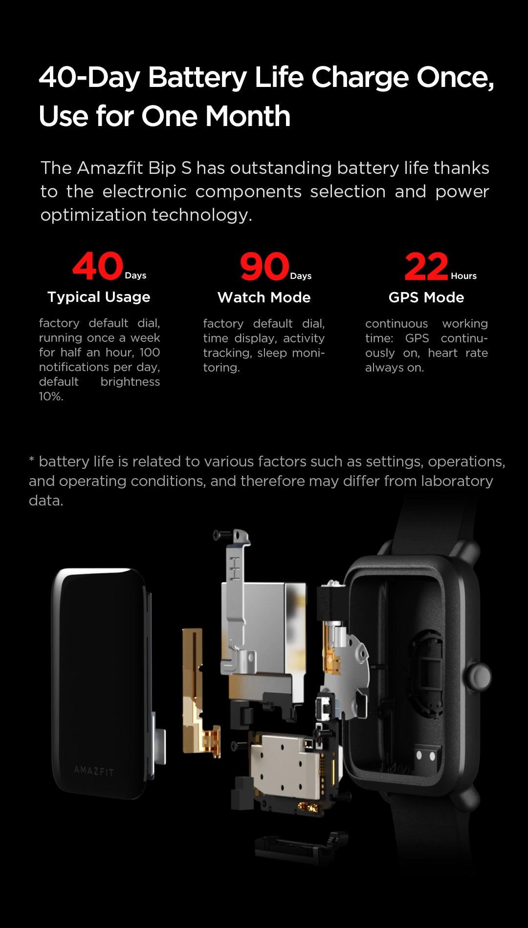 H64f538ffa6b941a8ae2b071ac3f0f1336 In Stock 2020 Global Amazfit Bip S Smartwatch 5ATM waterproof built in GPS GLONASS Smart Watch for Android iOS Phone
