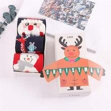 3 Pairs Newest Christmas Santa Claus Socks Women Cotton Short Elk Winter Cartoon Deer Snow Man Cute New Year Gift
