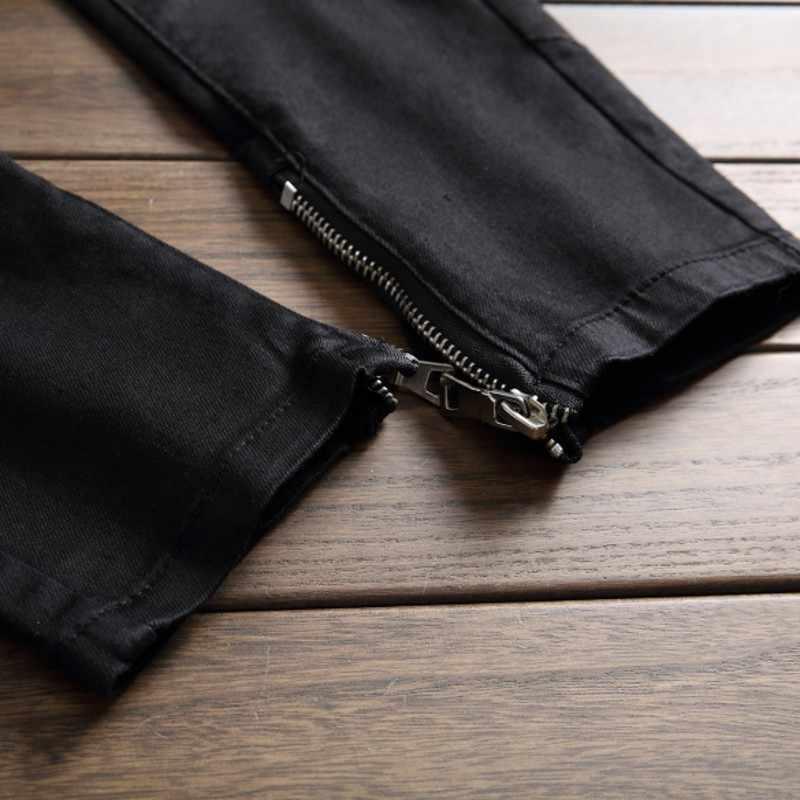 2020 frühling Mode Marke Distressed Begger männer Jeans Gerade Volle Länge Schwarz Rot Cowboy Hosen Mann Casual Biker Jean männlichen