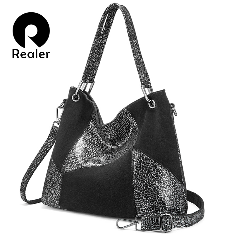 REALER Leather Handbag Women Genuine Leather Cross-body Shoulder Bag High Quality Fashion Patchwork Messenger Bag Large Tote Bag
