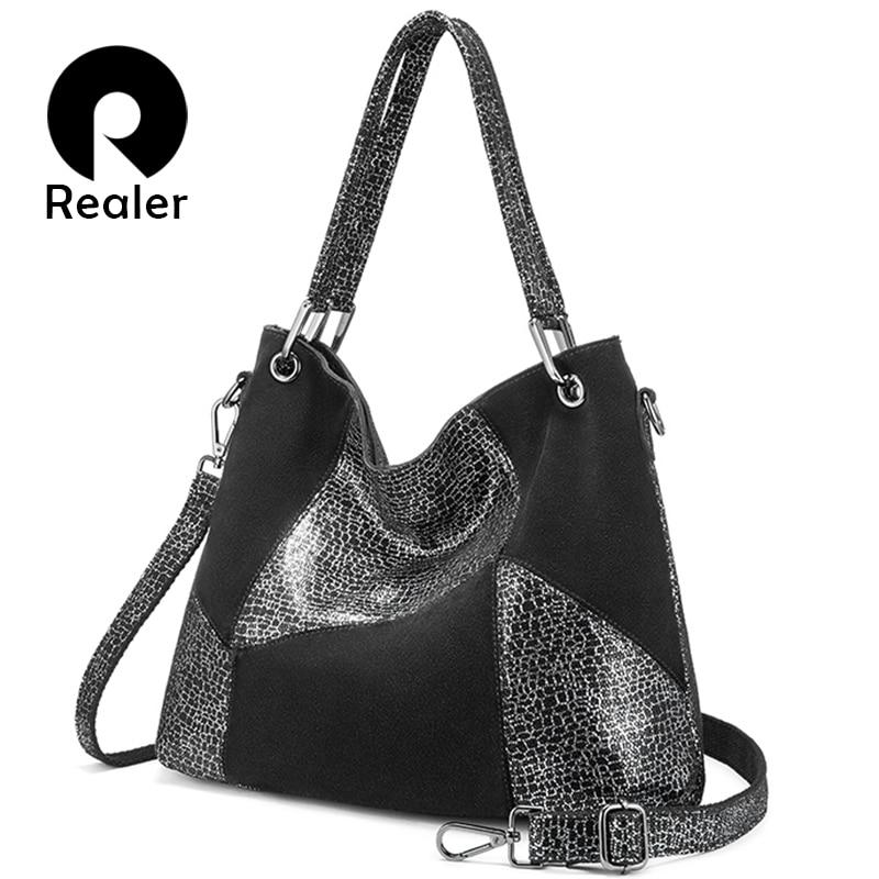 REALER Leather Handbag Women Genuine Leather Cross-body Shoulder Bag High Quality Fashion Patchwork Messenger Bag Large Tote Bag