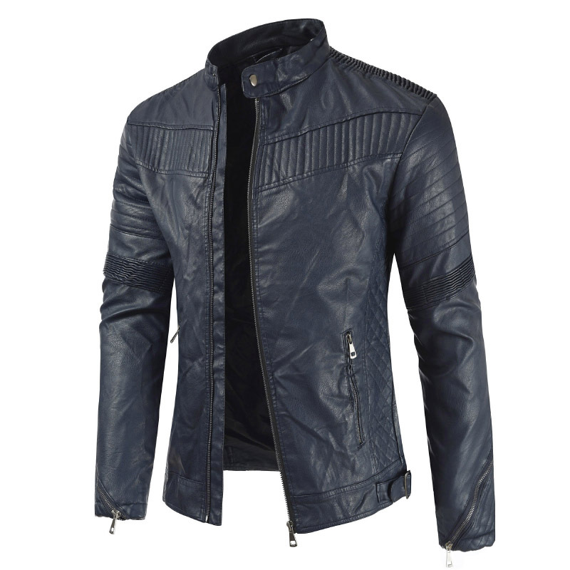 2019 Spring And Autumn New Style Men's PU Leather Hidden Button Men's Stand Collar Locomotive Leather Coat Jacket