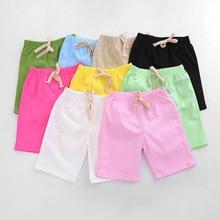 Хлопковые и льняные брюки для мальчиков от 2 до 10 лет шорты до колена яркие цвета, детские летние пляжные свободные шорты для девочек