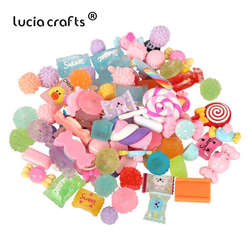 Lucia Crafts 12 Pcs/lot Random Mixed Design Flatback Resin Cute Candy Cream Resin DIY Headwear Bottle Phone Decoration F0602