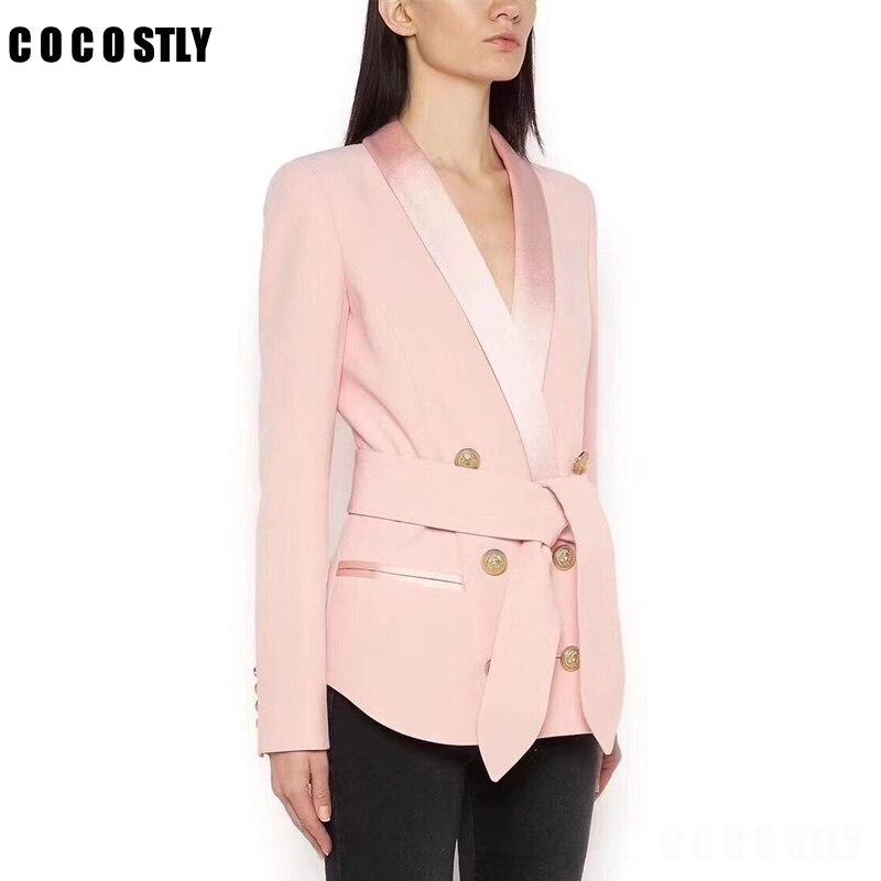 Autumn Winter Elegant Formal Suit Jacket Coat Women Double Breasted Lion Buttoms Designer Office Black Blazer Women Belt Clothes