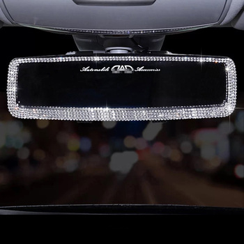 Rhinestone Car Interior Rearview Mirror Decor Charm Crystal Bling Diamond Ornament Rear View Mirror Cover Women Auto Accessories