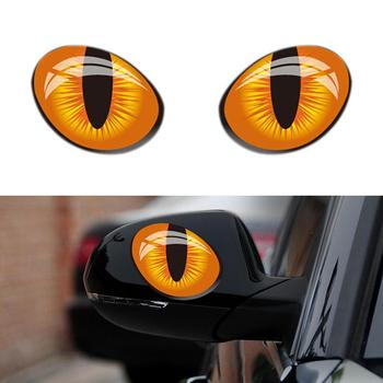 1 Pair 3D Cat Eyes Stickers Car Window Rearview Mirror Reflective Decor Decals image