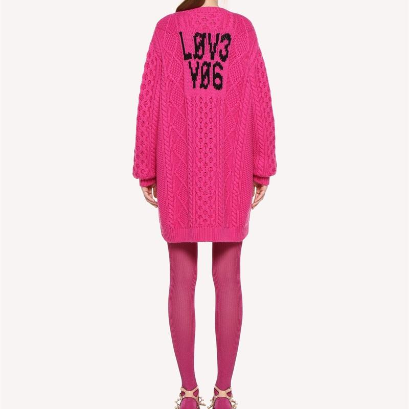 100% الصوف المرأة طويلة سترة اللباس إلكتروني طباعة طويلة الأكمام تريكو كسول نمط فضفاض سحب اللباس ل جديد الخريف الشتاء-في البلوفرات من ملابس نسائية على  مجموعة 1