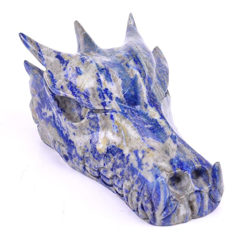 5.7 ''naturel Lapis Lazuli Dragon cristal crâne tête crâne Statue réaliste mascotte Figurine décor à la maison Art Collection cadeau