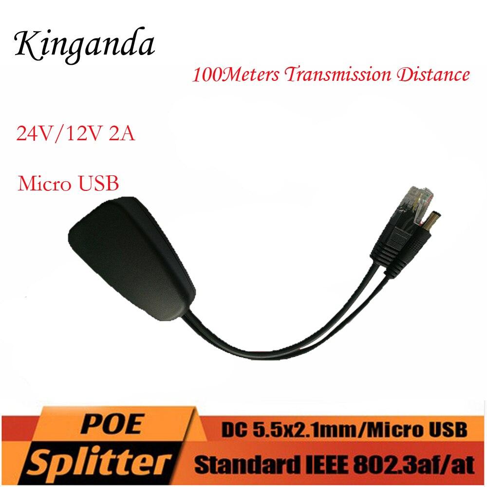 24V To 12V 2A Active Isolated PoE  Power Over Ethernet Splitter 100M Non-standard Rj45 Network Port For 24V POE Switch 4578