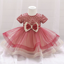 Baby Dress Christening-Gown Christmas-Costume Infant Princess Bow 1st Beading