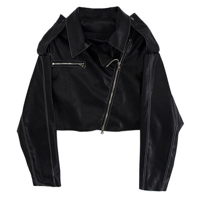 New Spring Autumn Soft Faux   Leather   Jackets Women Motorcycle Lady Zipper Biker Short Slim PU   Leather   Coats Black Female Clothing