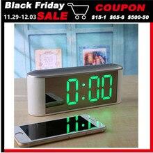 Настольные Цифровые Часы светодиодный дисплей температуры Повтор домашний светодиодный электронные часы зеркальные часы с термометром