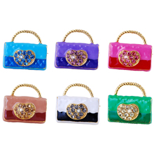 RINHOO Trendy Enamel Pins Gold-plated Crystal Cute Ladies Blue Handbag Alloy Brooch Bag Clothes Lapel Pin Jewelry Gifts