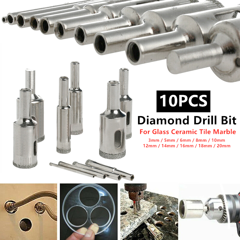 H64f62fb3285242b091f5c00552f0d15ap - 10pcs 3mm-20mm Diamond Glass Drill Bit Ceramic Marble Tiles Material Hole Drill Bits Cutting Tools Power Tool Accessories