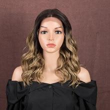 Bella peruca dianteira do laço sintético 20 Polegada onda cabelo ombre loira perucas sintéticas para as mulheres cosplay peruca dianteira do laço para preto