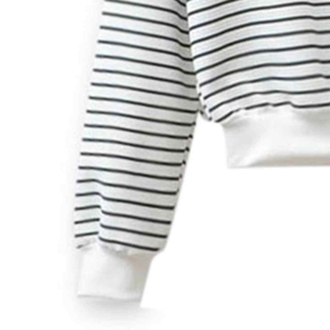Women Casual Long Sleeve O-Neck Striped T-Shirt White, Black Loose Spring,Autumn