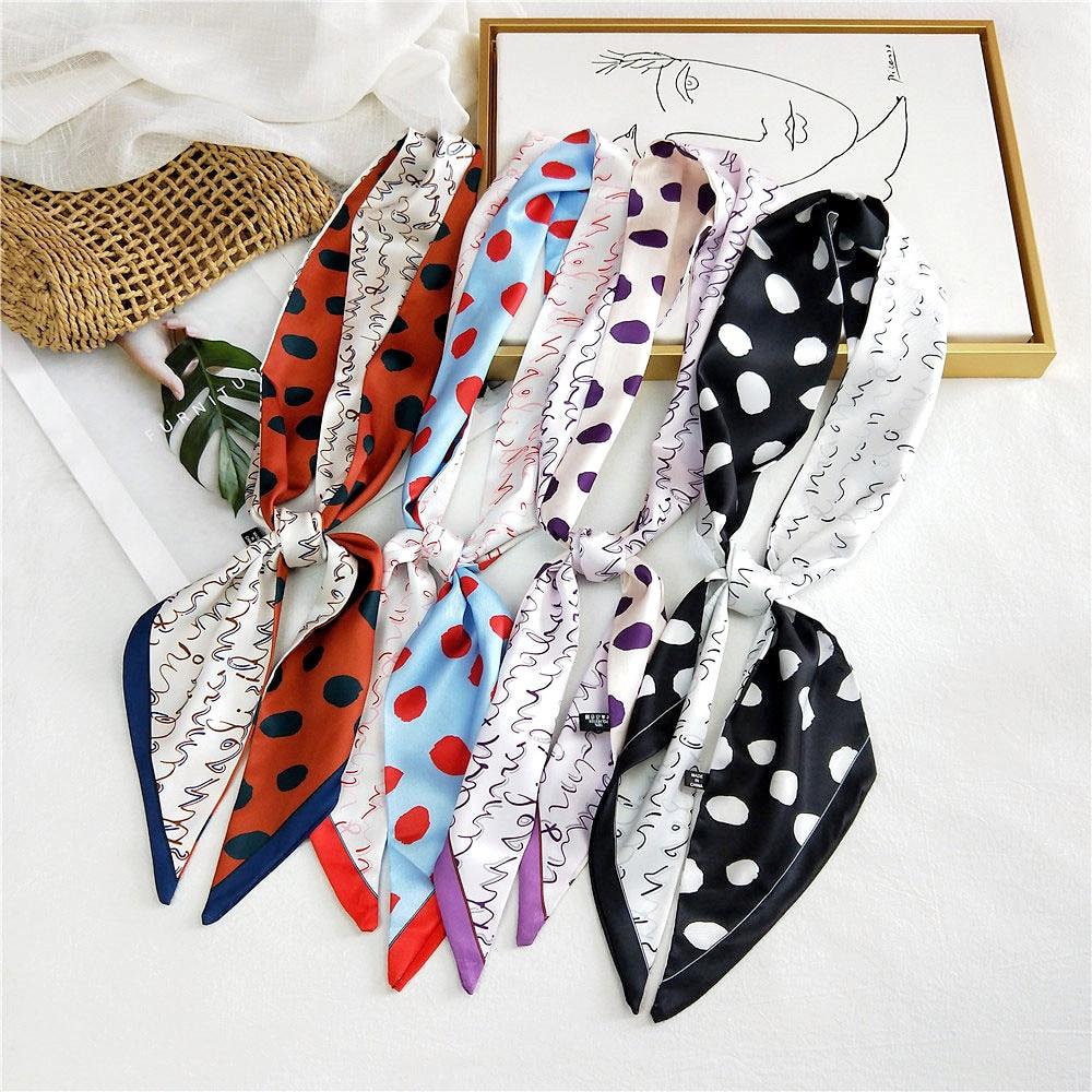 2020 New Spring Long Skinny Animal Print Handkerchief Bag Scarf Polka Dot Silk Satin Head Wrap Edge Scarf For Hair Acessories