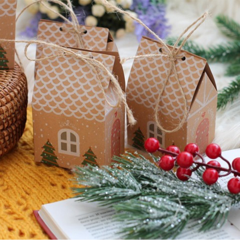 christmas candy cookies bags kraft paper biscuit bag christmas favors decor xmas decorations for home navidad 2020 gift boxes-5