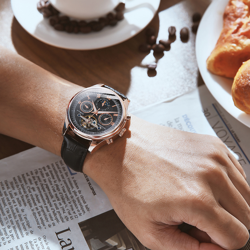 H64f6601509db45b5ba0f5bfd2d378479z Skeleton Tourbillon Mechanical Watch Men Automatic Classic Rose Gold Leather Mechanical Wrist Watches Reloj Hombre 2018 Luxury