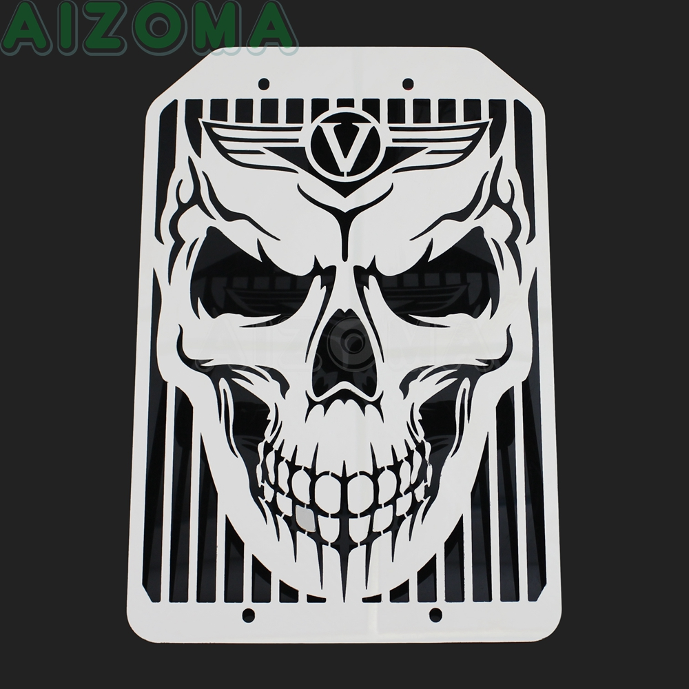 For Kawasaki VN 1500 1700 <font><b>VN1500</b></font> VN1700 Chrome Motorcycle Skull Style Radiator Grille Protector Water Cooler Grill Cover image