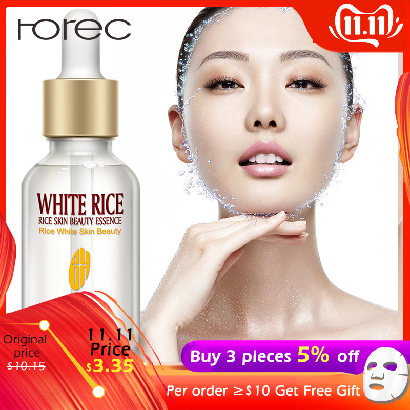 ROREC Collagen White Rice Face Serum Hyaluronic Acid Essence Shrink Pore Moisturizing Oil Control Anti-Wrinkle Lighten Skin Care