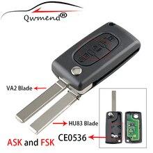 Qwmend 3 botões chave do carro inteligente para citroen c2 c3 c4 c5 c6 c8 carro remoto chave fsk ou pedir flip keys luz ce0536