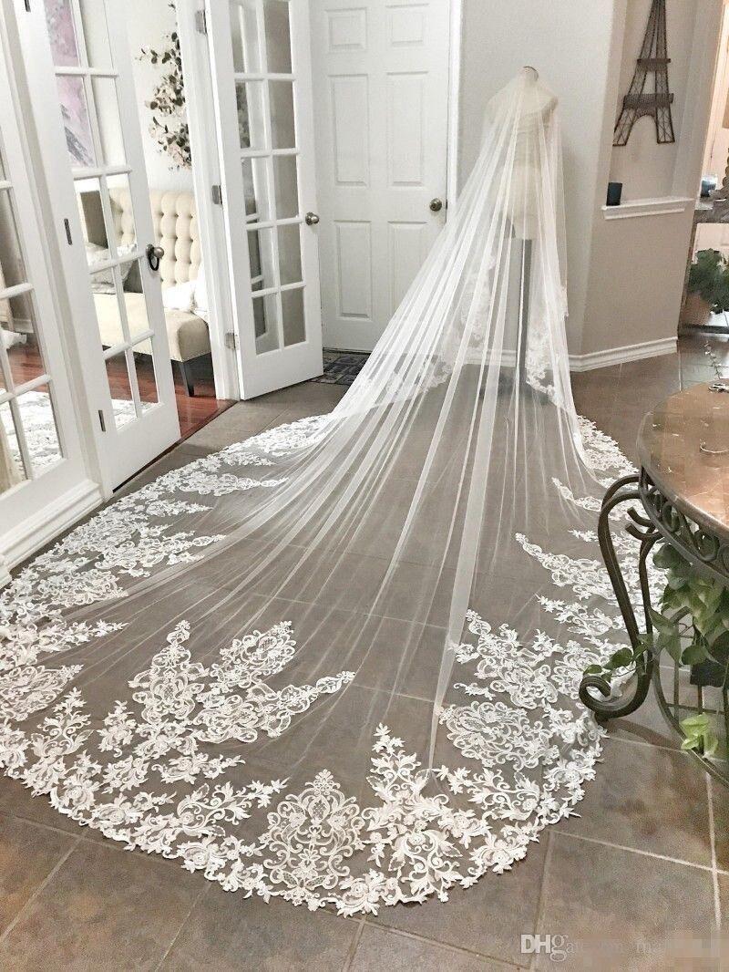 4M Long Cathedral Length Bridal Veils with Appliques In Stock Long Wedding Veils Vestido De Noiva Longo Wedding Veil