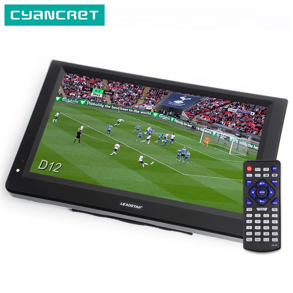 LEADSTAR D12 pouces HD Portable TV DVB-T2 ATSC ISDB-T tdt numérique et analogique mini petite voiture télévision prise en charge USB carte SD MP4 AC3