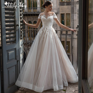 Романтичное блестящее Тюлевое ТРАПЕЦИЕВИДНОЕ свадебное платье с круглым вырезом Adoly Mey 2020 изящное Плиссированное винтажное свадебное плат...