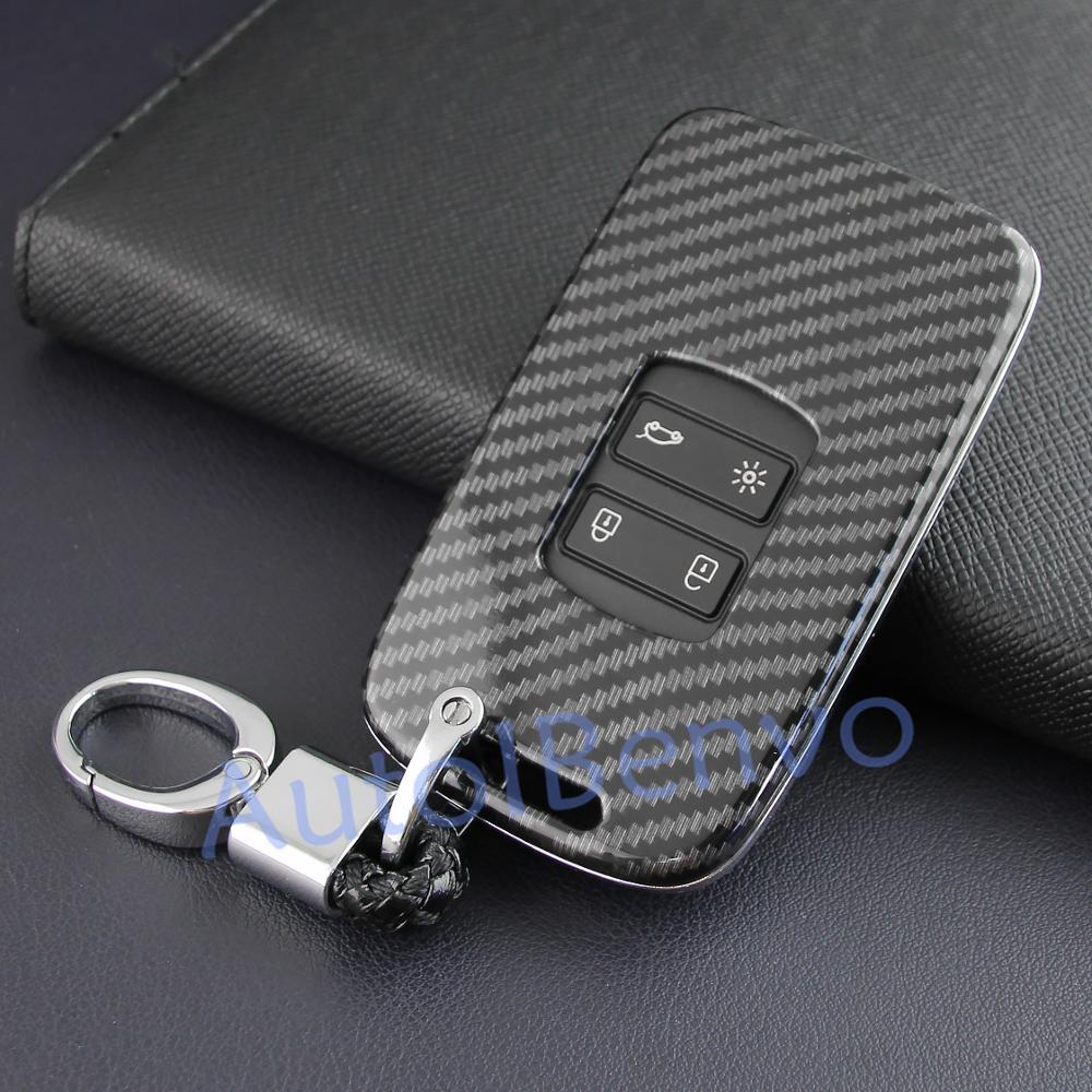 Otomobiller ve Motosikletler'ten Araba için Anahtar Kılıfı'de Karbon Fiber araba çevirme anahtar kabuk korumak Renault Koleos Kadjar Megane Espace Talisman anahtarlık aksesuarları title=