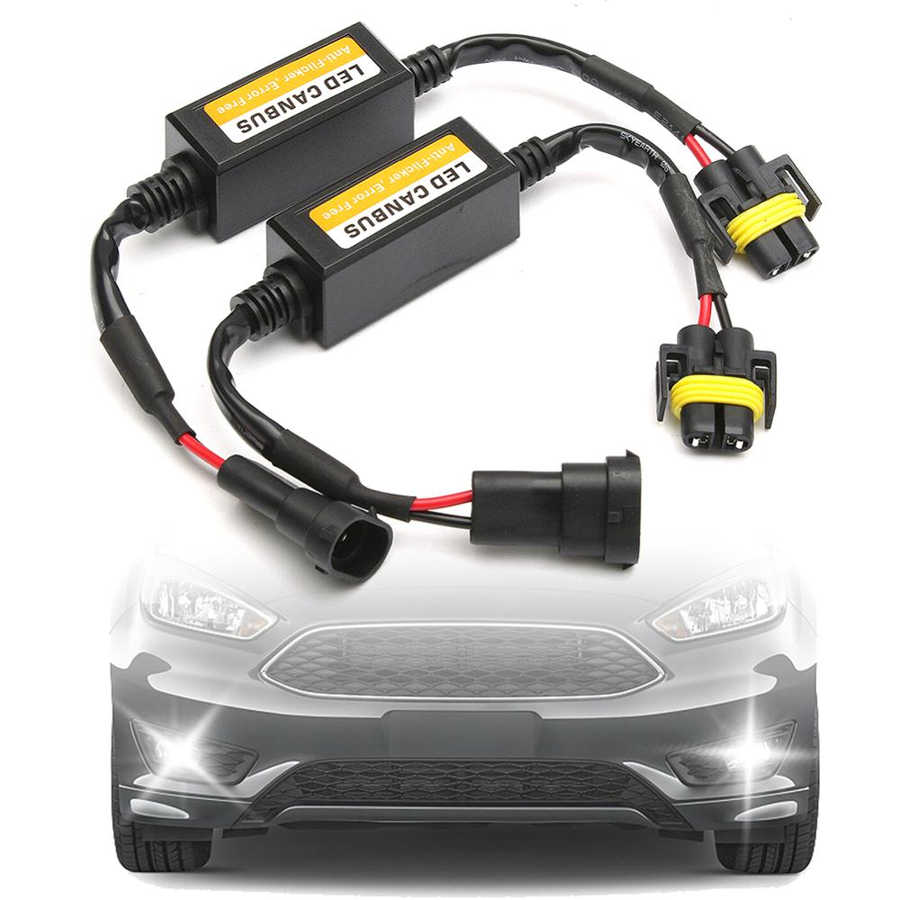 2x H11 Foutloos Canbus Decoder Led Koplamp Anti Flicker Weerstand Canceller Voor Led Auto Koplamp Lamp Kits