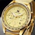 AOKULASIC мужские модные золотые часы ультра-тонкие сетчатые стальные ремешок шесть игл секундомер кварцевые часы мужские спортивные часы AK46