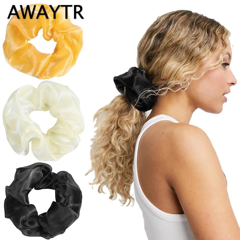 AWAYTR  Women Big Hair Scrunchies Fantastic Silk Organza Hair Band  Solid Hair Gums Elastic Rubber Bands Vintage Hair Ties New