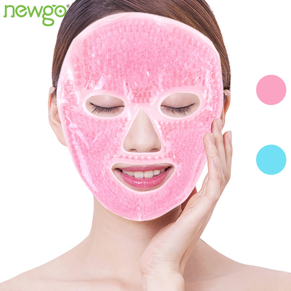 Cold Gel Face Mask With Gel Beads Ice Face Mask For Hot Cold Therapy Soothe Puffy Tired Eyes Dark Circles Cooling Full Face Mask