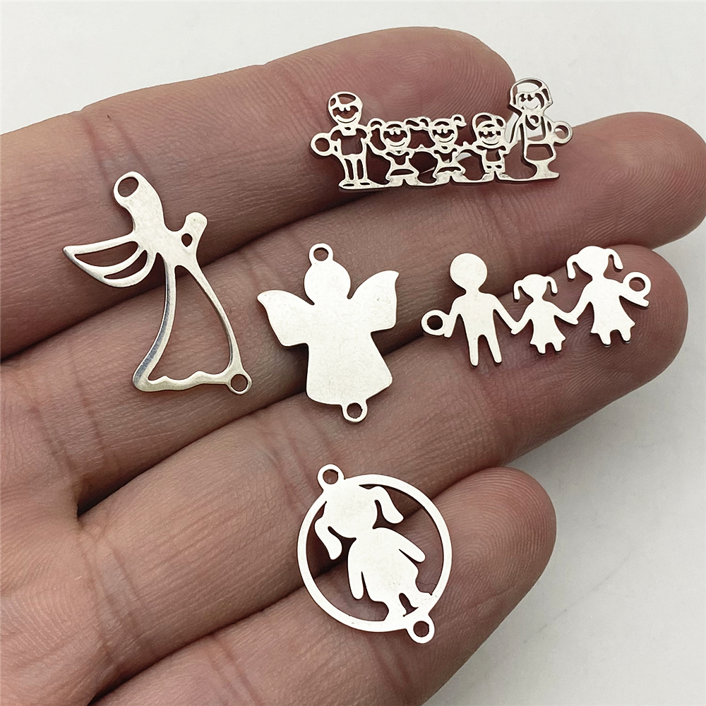 10pcs/lot Stainless Steel Angel Bless with Family Love Charms Fit Bracelet Connectors Charm Jewelry Handmade Diy Jewelry Make