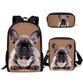 HaoYun детский модный рюкзак с забавным принтом бульдогов  школьные сумки с милым животным  3 шт./компл.  школьные сумки для школьников