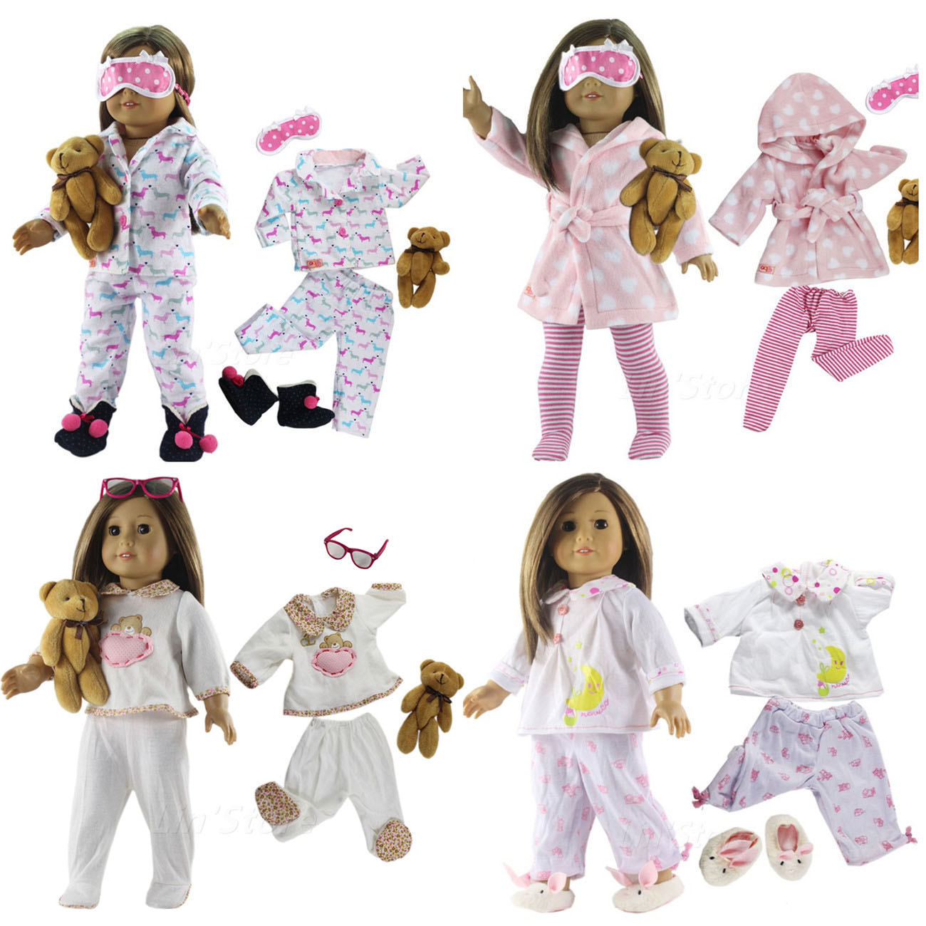 Many Style Sleepwear For Choice 1 Set Doll Clothes Top+pants For 18 Inch American Doll Handmade High Quality 18