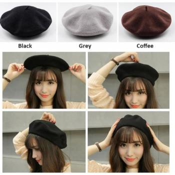 Spring Autumn Winter Knitted Women Hat Warm Wool Beret Solid Color Hats Berets Caps for Girls