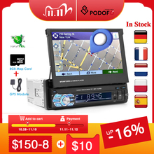 """Podofo 1din araba radyo GPS navigasyon 7 """"HD geri çekilebilir ekran MP5 çalar Bluetooth Stereo ayna bağlantı Autoradio dikiz kamera"""