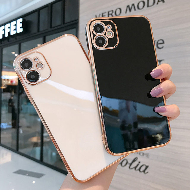 Luxury Gold Plated Electroplated Case For iPhone 11 Pro Max 8 Plus 7 XR XS X Silicone Lens Protection 12 Pro Max SE 2020 Cover 1