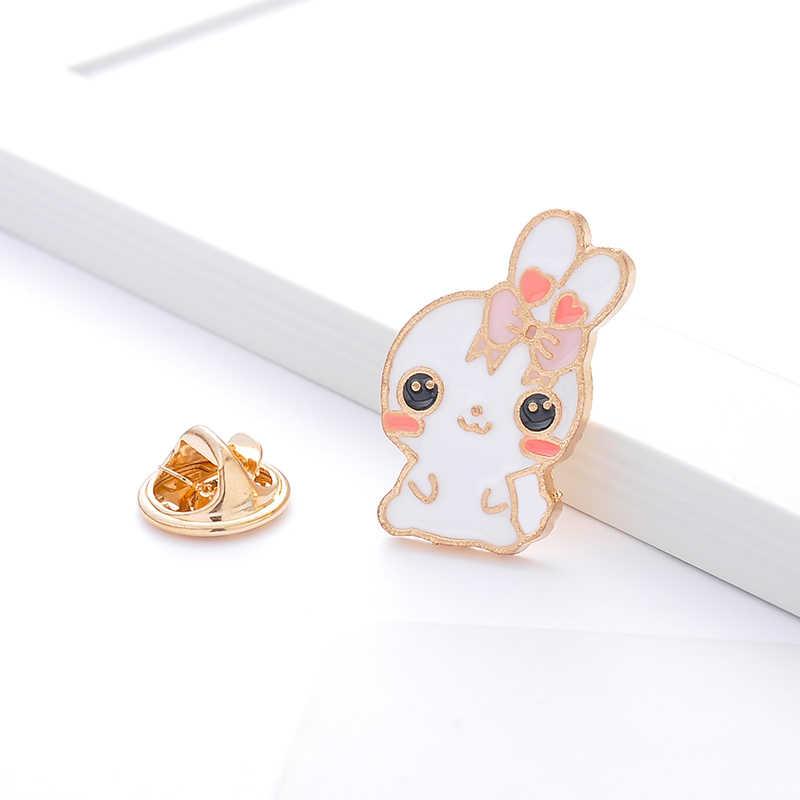 Sevimli hayvan emaye pimleri tavşan komik tilki mantar gül demlik karikatür broş gömlek ceket çanta yaka pin rozeti hediyeler için çocuklar